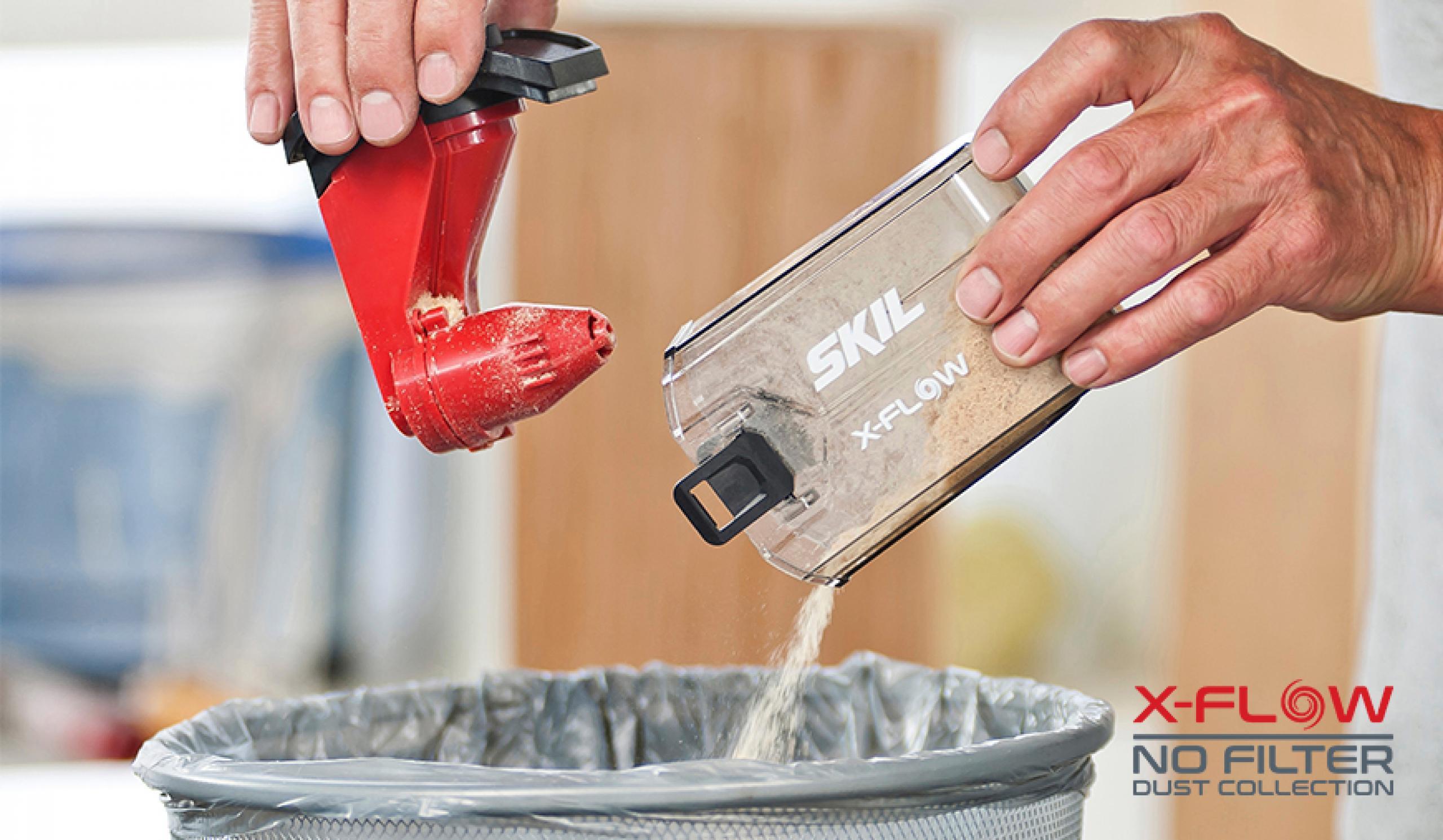 X-Flow забезпечує потужне всмоктування пилу, не забиваючись